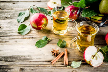 Homemade apple cider with cinnamon and anise spices, with fresh apples on wooden rustic background copy space Stock Photo - 110281479