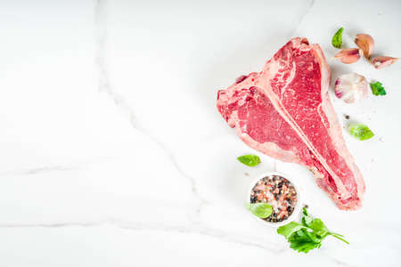 Raw fresh meat, t-bone beef steak with spices and herbs on cutting board, concrete table top view copy space Stock Photo