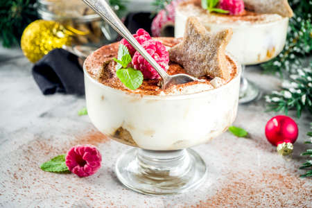 Christmas dessert idea, Gingerbread Tiramisu Trifle Parfaits woth fresh raspberry and mint leaves. copy space