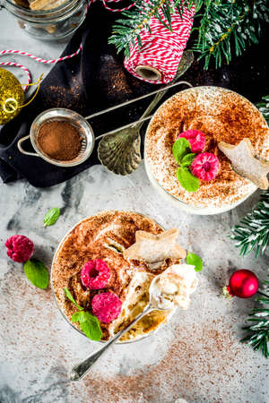 Christmas dessert idea, Gingerbread Tiramisu Trifle Parfaits woth fresh raspberry and mint leaves. copy space Stock Photo - 112970841