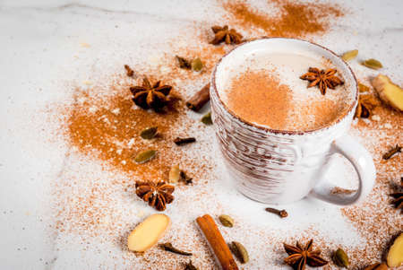 Traditional indian masala chai tea with spices - cinnamon, cardamom, anise, white background. Copy space Stock Photo
