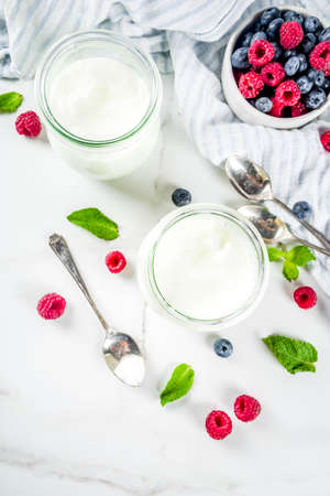 Two glass jars with fresh homemade organic yogurt decorated with fresh berries and mint, white marble background copy space Stock Photo