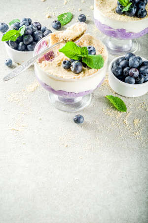 Sweet summer dessert, Blueberry no baked inverted cheesecake in glass, grey stone background copy space Stock Photo