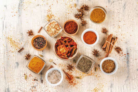 Set of various spices on light concrete background. Copy space. top view 写真素材