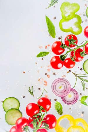 Vegan healthy food concept. Ingredients cooking spring vitamin salad.