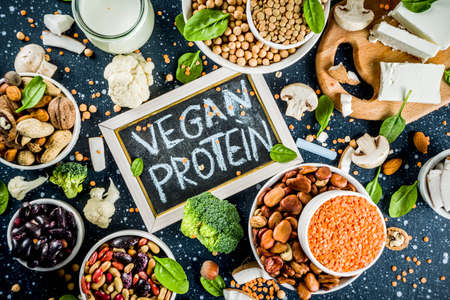 Healthy plant vegan food, veggie protein sources: Tofu, vegan milk, beans, lentils, nuts, soy milk, spinach and seeds. Dark blue concrete background copy space 写真素材