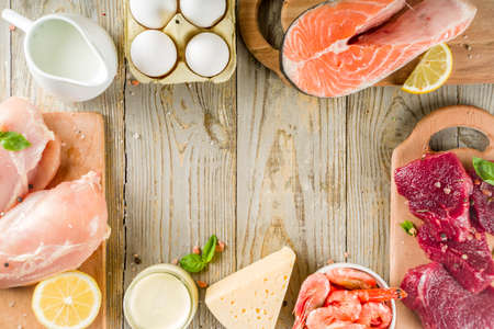 Animal protein sources - raw beef meat steak, chicken breast fillet, salmon fish, eggs, dairy milk, shrimps, cheese, copy space frame Stok Fotoğraf