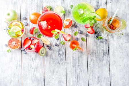 Selection summer fruit and berry cocktail drinks. wooden background copy space 版權商用圖片