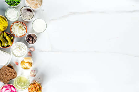 Super Healthy Probiotic Fermented Food Sources, drinks, ingredients, on white marble background copy space top view Reklamní fotografie - 118098124
