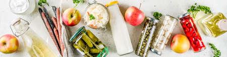 Surtido de diversos alimentos fermentados: vinagre de sidra de manzana, carne y verduras fermentadas, chucrut, pimientos en escabeche, tomates, ajo, alcaparras, espacio de copia de fondo blanco