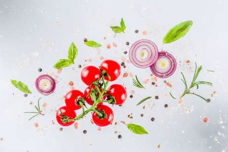 Vegan healthy food concept. Ingredients cooking spring vitamin salad. Fresh vegetable simple pattern, layout with tomatoes, onions, herbs and spices on white background. Top view banner copy space