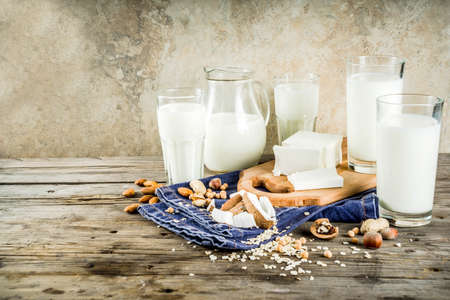 plant based vegan food and drink, Non-dairy milk and cheese tofu - from almond, nuts, soy beans, oats and coconut, wooden background copy space Archivio Fotografico