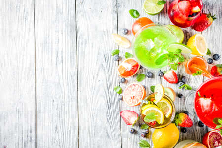 Selection summer fruit and berry cocktail drinks. wooden background copy space Stock Photo