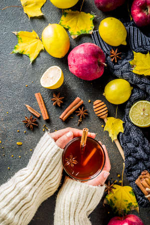Girl hold and drink cup of autumn winter hot spicy tea with red apples, lemons, cinnamon, anise, honey, Dark rusty background copy space, hands in picture