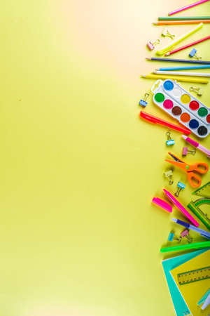 Colorful back to school background. Bright background with school supplies, stationery, pens, pencils, rulers, notebooks, copy space for text, whiteboard for notes, flat lay top view Stok Fotoğraf - 123141231