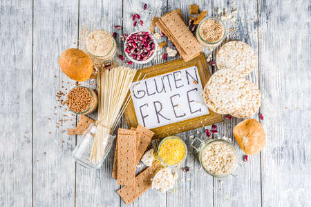 Healthy eating, dieting, balanced food concept. Assortment of gluten free food - beans, flour, almond, corn, rice. wooden table copy space Stock Photo - 123226574