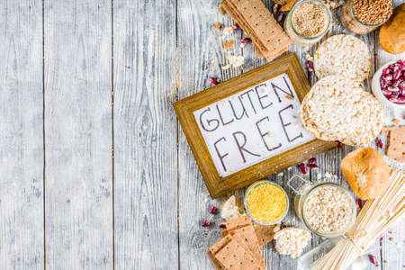 Healthy eating, dieting, balanced food concept. Assortment of gluten free food - beans, flour, almond, corn, rice. wooden table copy space Stock Photo - 123226584