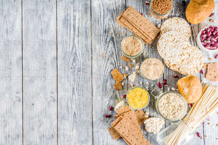 Healthy eating, dieting, balanced food concept. Assortment of gluten free food - beans, flour, almond, corn, rice. wooden table copy space Stock Photo - 123226592