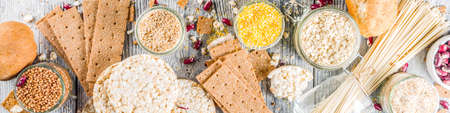 Healthy eating, dieting, balanced food concept. Assortment of gluten free food - beans, flour, almond, corn, rice. wooden table copy space banner