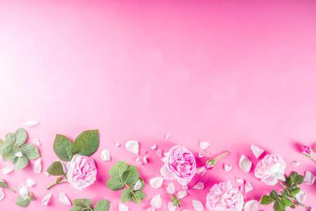 Sfondo rosa con rose, sopra lo spazio della copia del layout