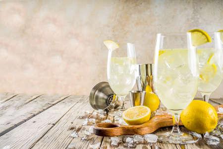 Trendiges Sommerkaltgetränk. St. Germain French Spritz Cocktail mit Zitronenscheiben, alter rustikaler Holzhintergrund-Kopierraum Standard-Bild