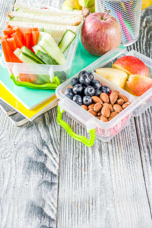 Healthy school lunch box. Kid's lunch box with sandwiches, fruit, vegetables, nuts, water and school supplies, White wooden background Reklamní fotografie - 124634833
