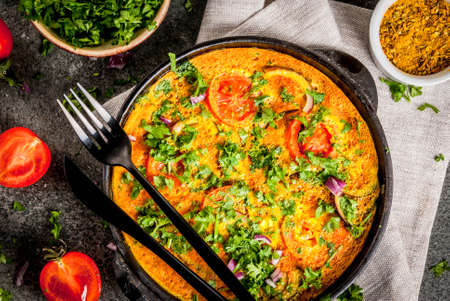 Indian food recipes, Masala Omelette with fresh vegetables