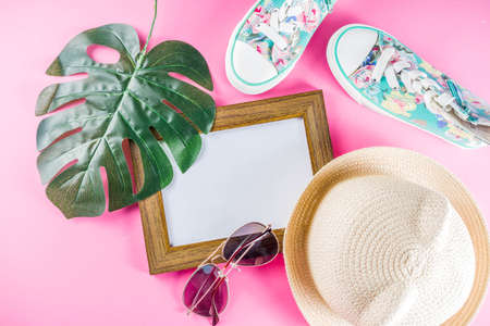 Summer sale shopping concept, Colorful  with various bright color childrens womens clothes, glasses, sneakers, hat.