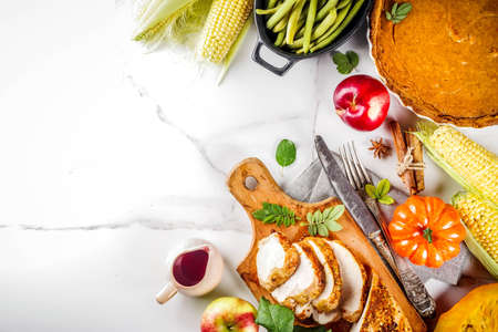Thanksgiving holiday table with traditional festive food Stock Photo