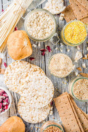 Healthy eating, dieting, balanced food concept. Assortment of gluten free food - beans, flour, almond, corn, rice. wooden table copy space