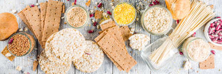 Healthy eating, dieting, balanced food concept. Assortment of gluten free food - beans, flour, almond, corn, rice. wooden table copy space banner Stock Photo - 126643684