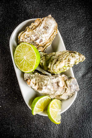Fresh oyster clams with lemon on a black concrete background, top view copy space Reklamní fotografie