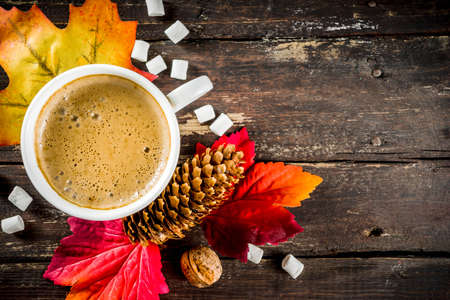 Autumn composition concept background. Cappuccino coffee or hot chocolate cup, with autumn bright leaves, pine cones, marshmallows. Flatlay on wooden rustic background, simple top view pattern Imagens