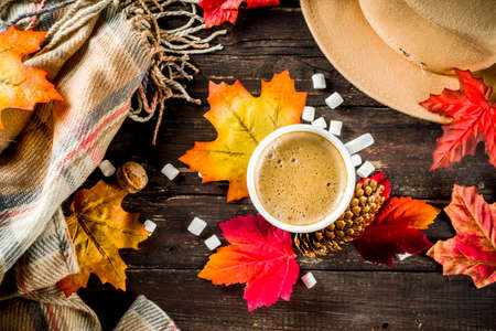 Autumn composition concept background. Cappuccino coffee or hot chocolate cup, with autumn bright leaves, pine cones, marshmallows. Flatlay on wooden rustic background, simple top view pattern Banco de Imagens