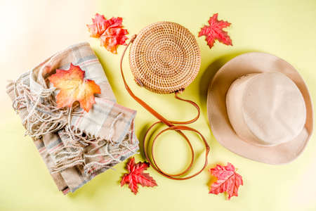 Multicolored autumn background. Womens felt hat, wicker bag, checkered plaid, autumn red yellow leaves. Yellow background, top view, wide composition. Autumn fashion, cozy fall concept, flatlay 写真素材