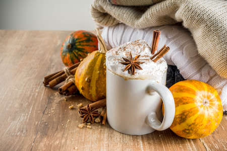 Autumn pumpkin spice latte with cinnamon sticks and anise stars