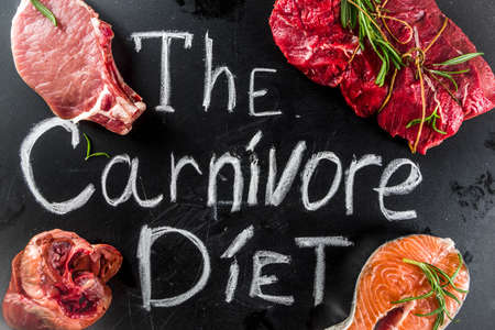 Carnivore diet background. Non vegan protein sources, Different meat food - chicken breast, pork steak, beef tenderloin, eggs, spices for cooking. Black stone concrete background