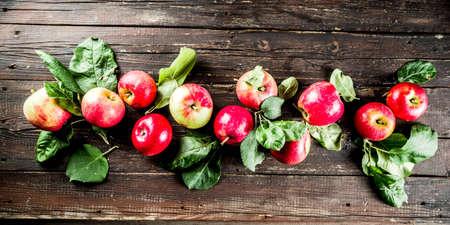 秋のオーガニック自家製リンゴ、葉っぱ付き、木製の素朴なテーブルの上