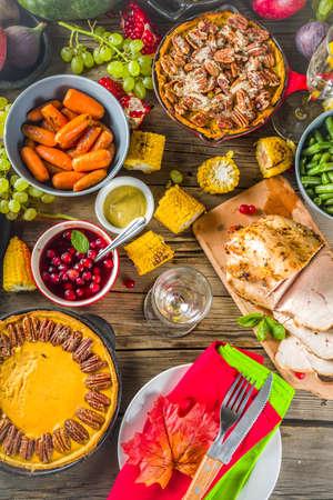 Thanksgiving family dinner setting concept.