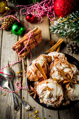 Christmas dessert, Homemade Eggnog or Gingerbread Ice Cream with Cinnamon