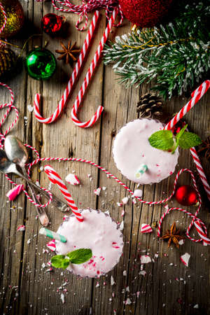 Christmas sweet cold drink, Homemade Peppermint Candy Cane Milkshake in two glasses Banque d'images - 131561525