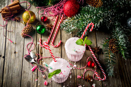 Christmas sweet cold drink, Homemade Peppermint Candy Cane Milkshake in two glasses Banque d'images - 131562115