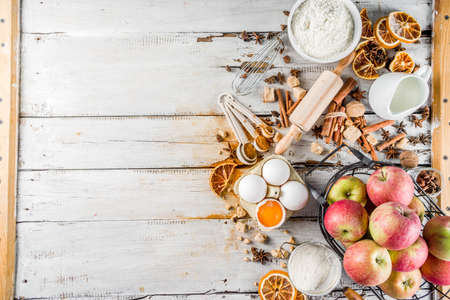 Autumn baking sale concept. Cooking seasonal fall baking  with ingredients