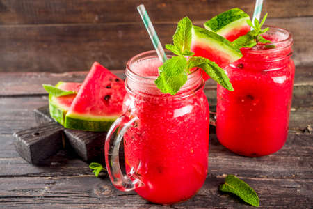 Cold summer drink. Homemade watermelon smoothie.
