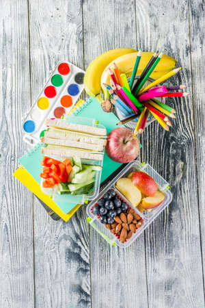 Healthy school lunch box. Kids lunch box with sandwiches