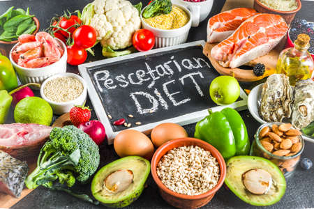 Pescetarian diet plan ingredients 스톡 콘텐츠