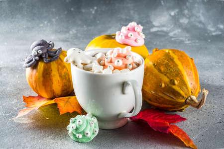 Halloween hot chocolate mugs with funny marshmallows