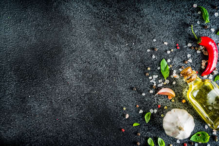 Cooking food stone concrete  with spices