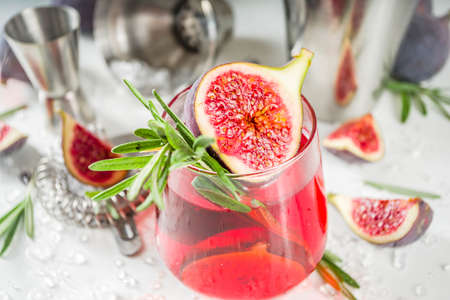 Fig autumn alcohol cocktail with cognac or liquor