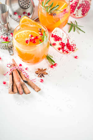 Orange and rosemary fizz with cider. Christmas festive mocktail. Copy space